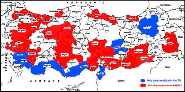 24 İle Giriş/Çıkışların Kısıtlanması 19 Mayıs Saat 24.00'a Kadar Uzatıldı
