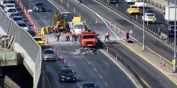 Haliç Köprüsü'nün 3 şeridinin 2'si 7 gün kapalı
