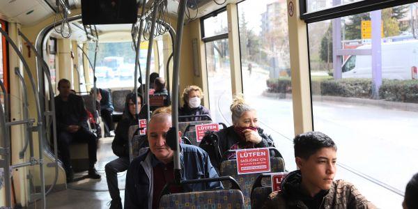 """Toplu taşımada """"Sosyal Mesafe"""" ye dikkat çekiliyor"""