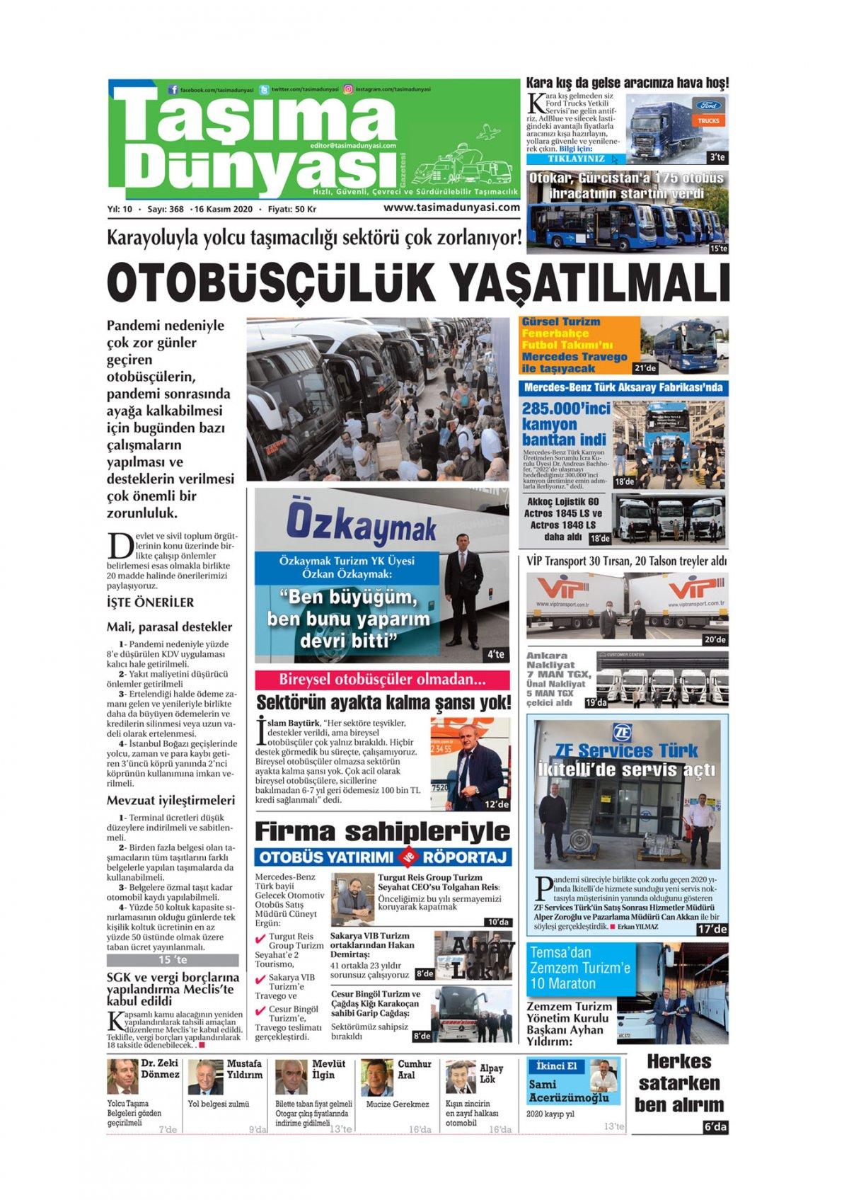 Taşıma Dünyası Gazetesi - 13.11.2020 Manşeti