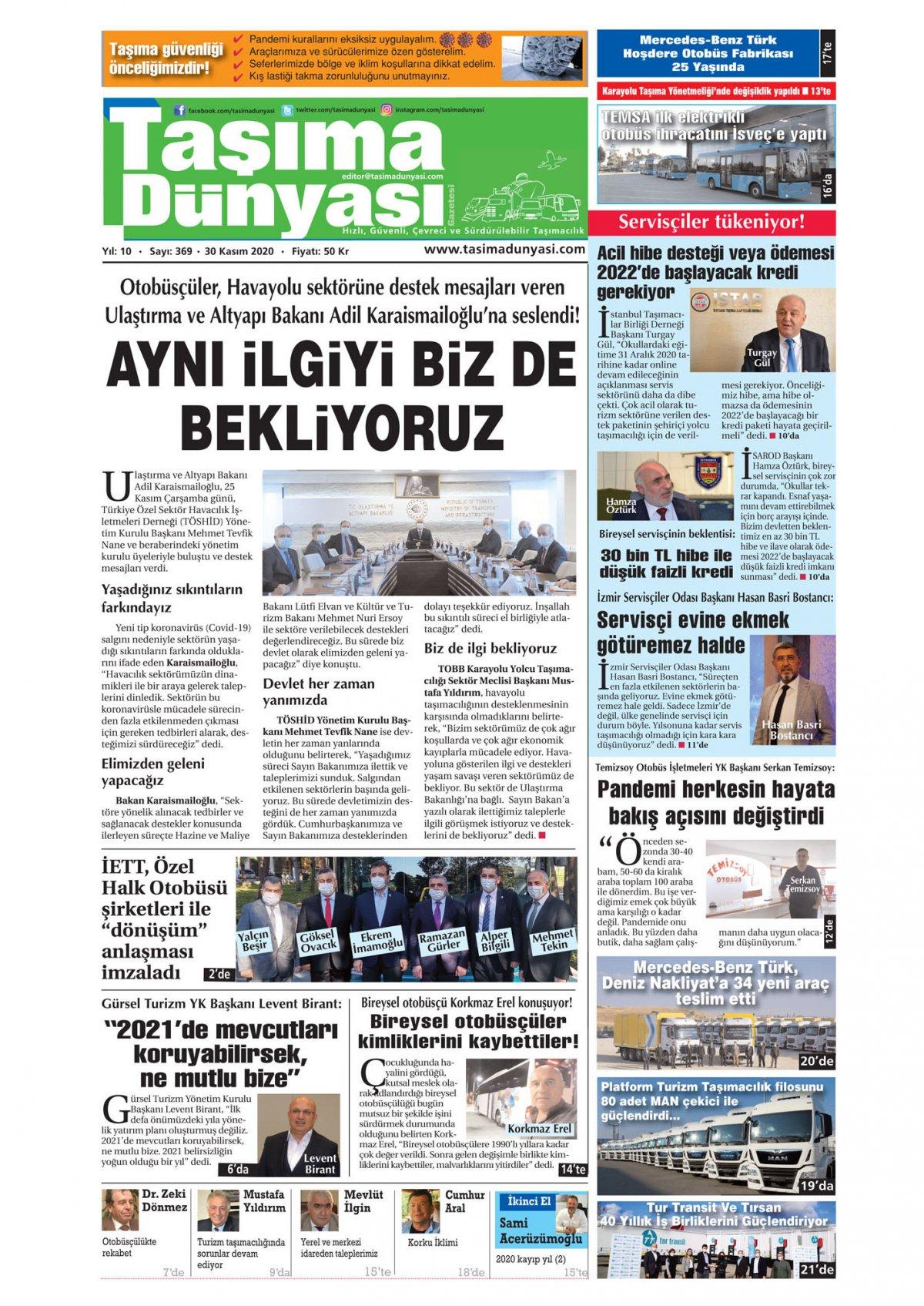 Taşıma Dünyası Gazetesi - 30.11.2020 Manşeti
