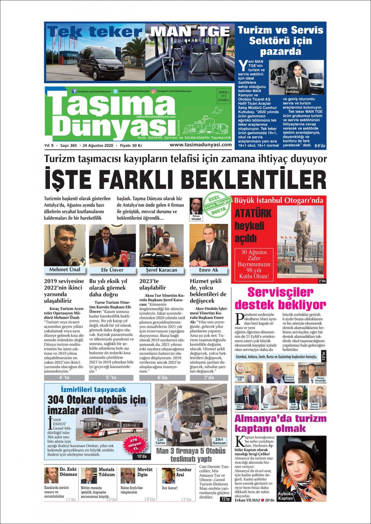 Taşıma Dünyası Gazetesi - 24.08.2020 Manşeti