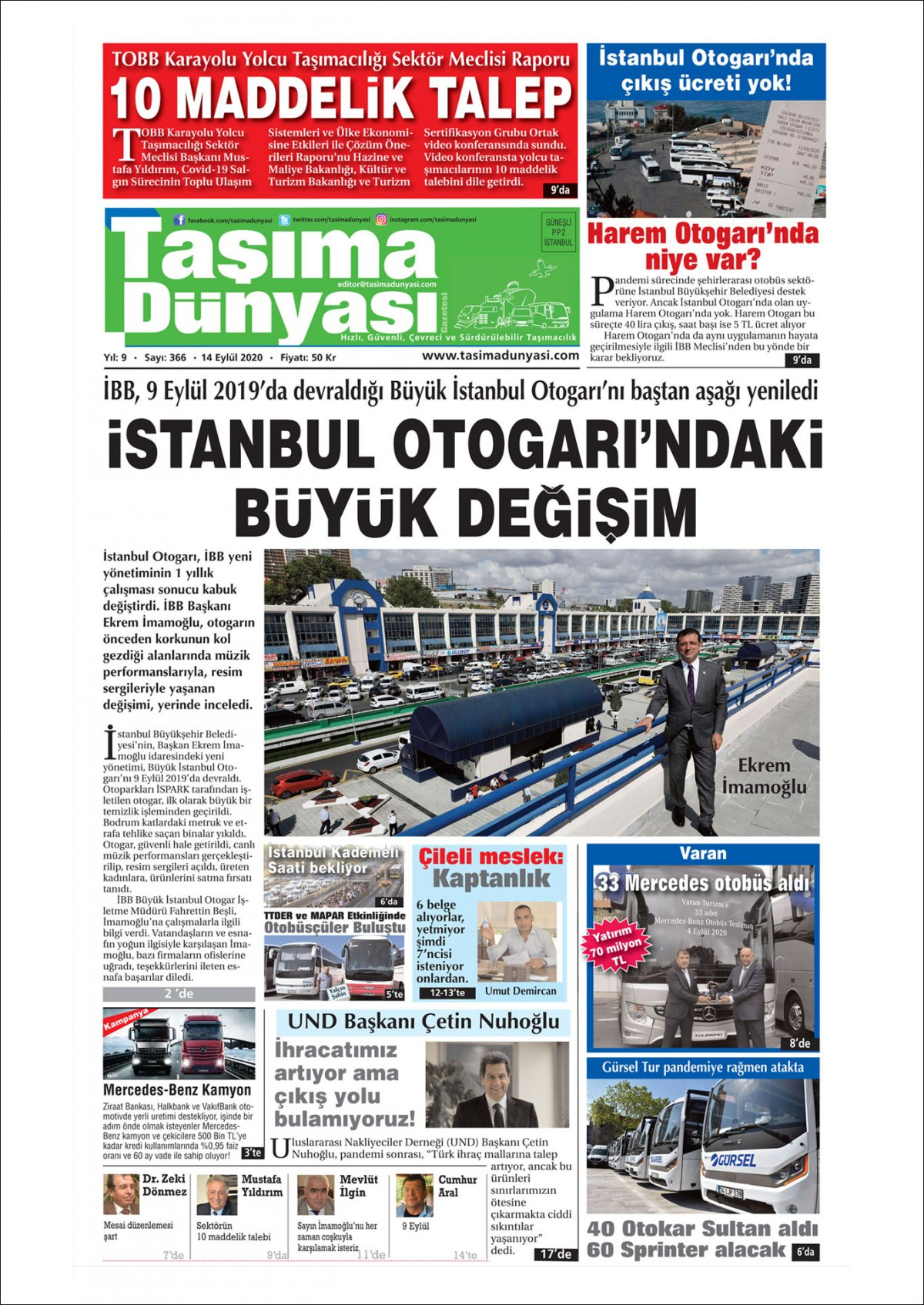 Taşıma Dünyası Gazetesi - 14.09.2020 Manşeti
