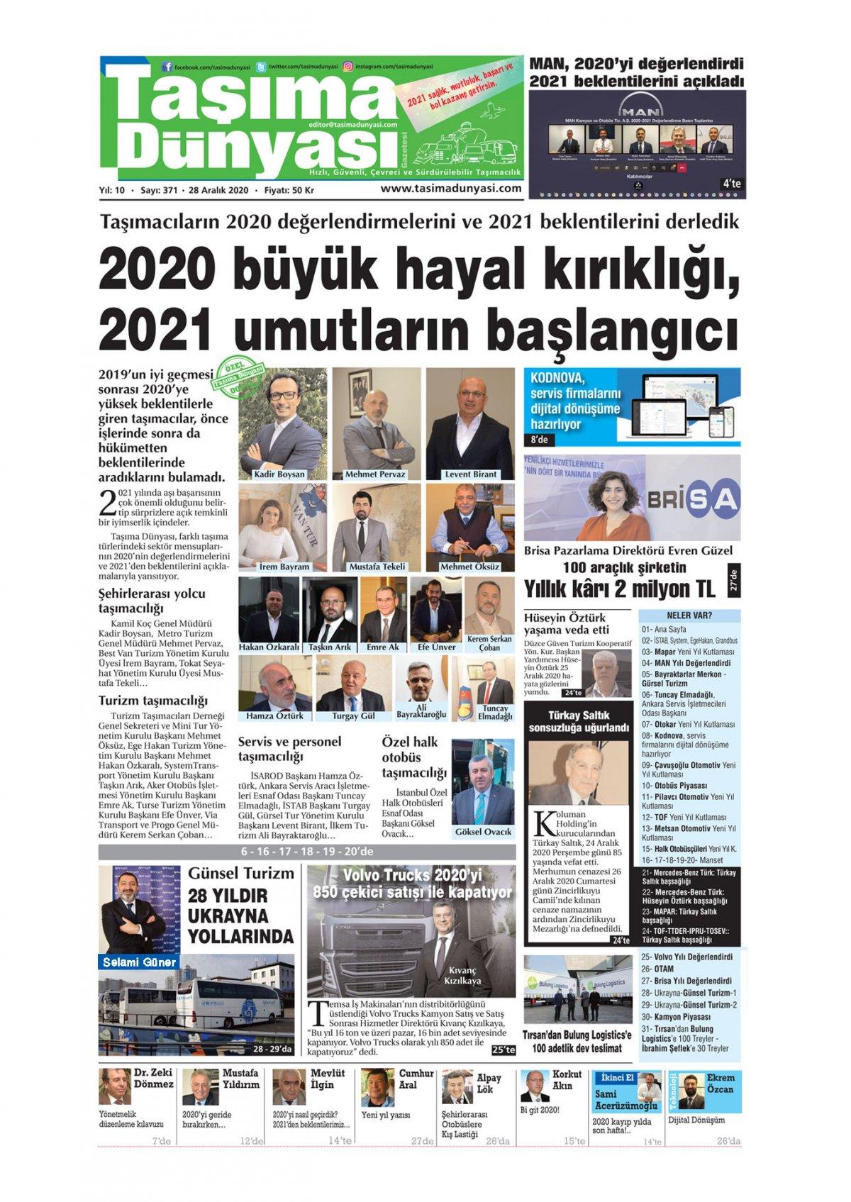 Taşıma Dünyası Gazetesi - 29.12.2020 Manşeti
