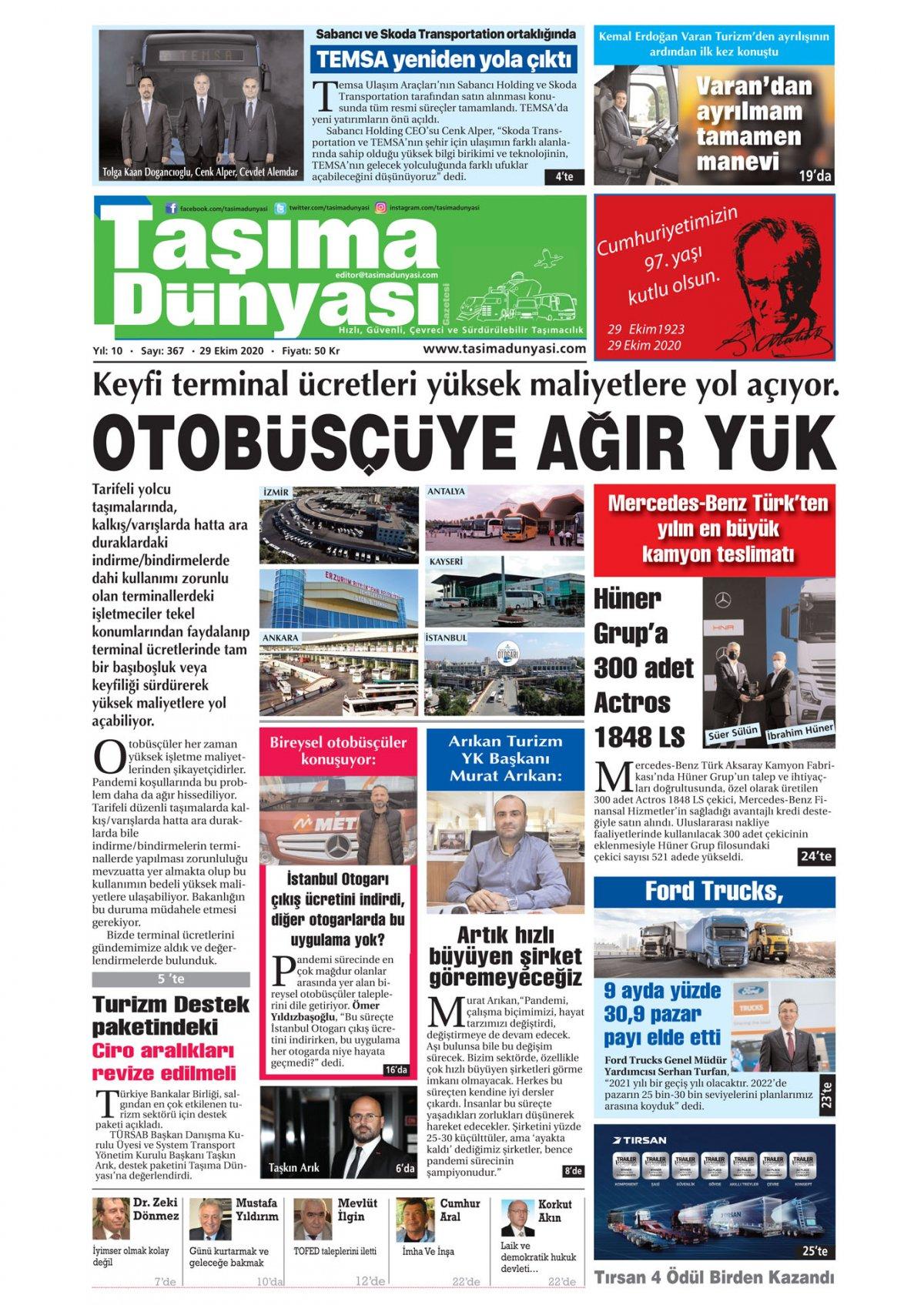 Taşıma Dünyası Gazetesi - 02.11.2020 Manşeti