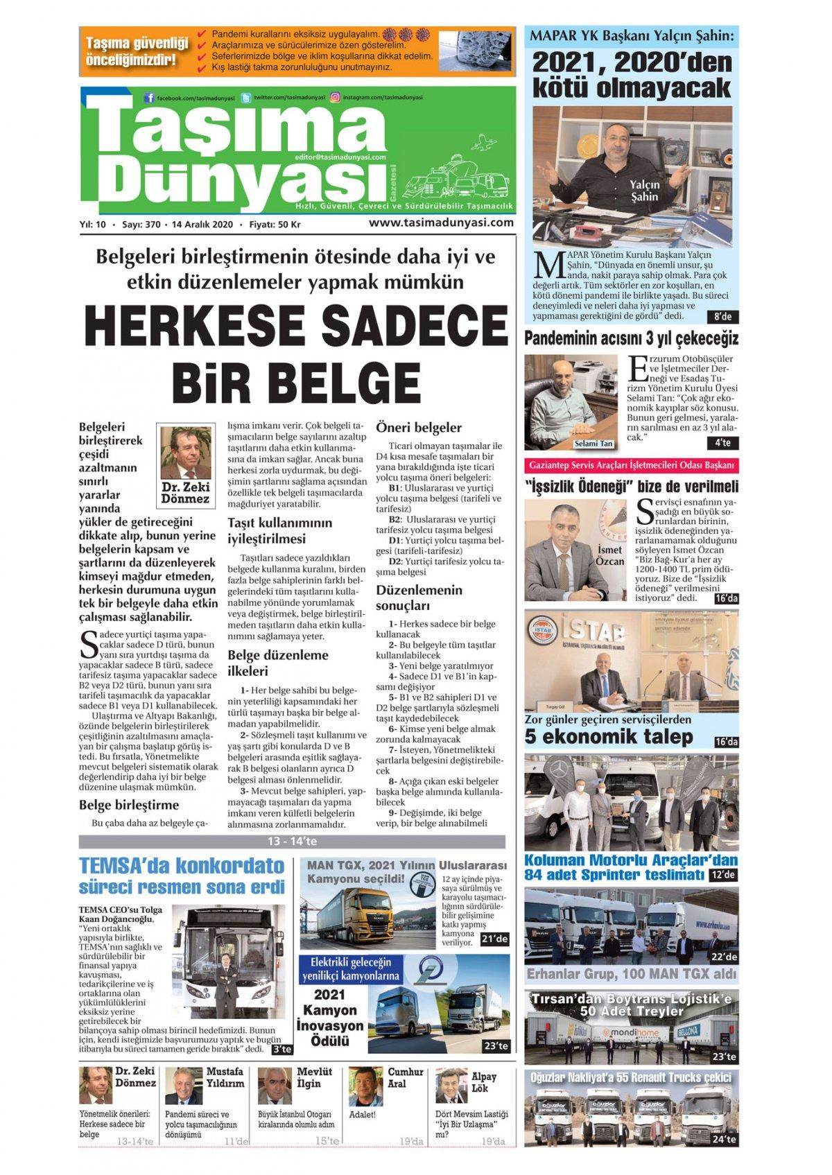 Taşıma Dünyası Gazetesi - 14.12.2020 Manşeti
