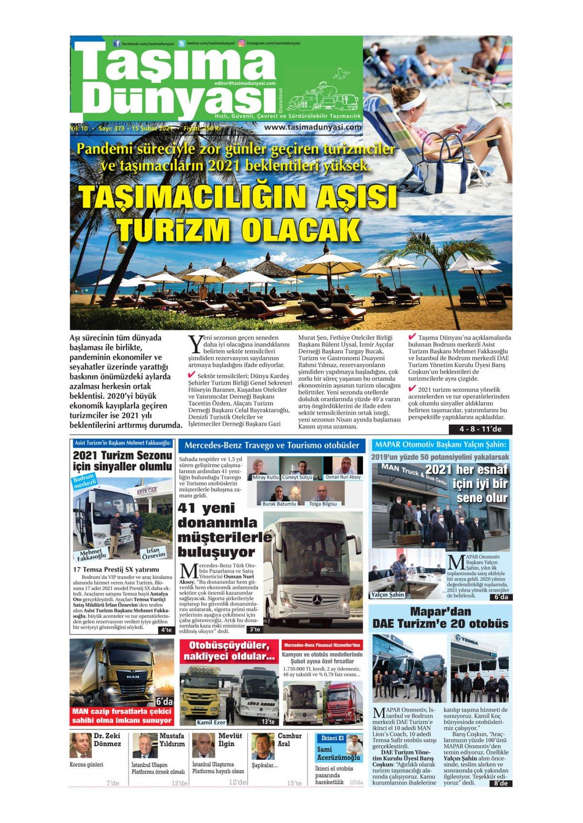 Taşıma Dünyası Gazetesi - 15.02.2021 Manşeti