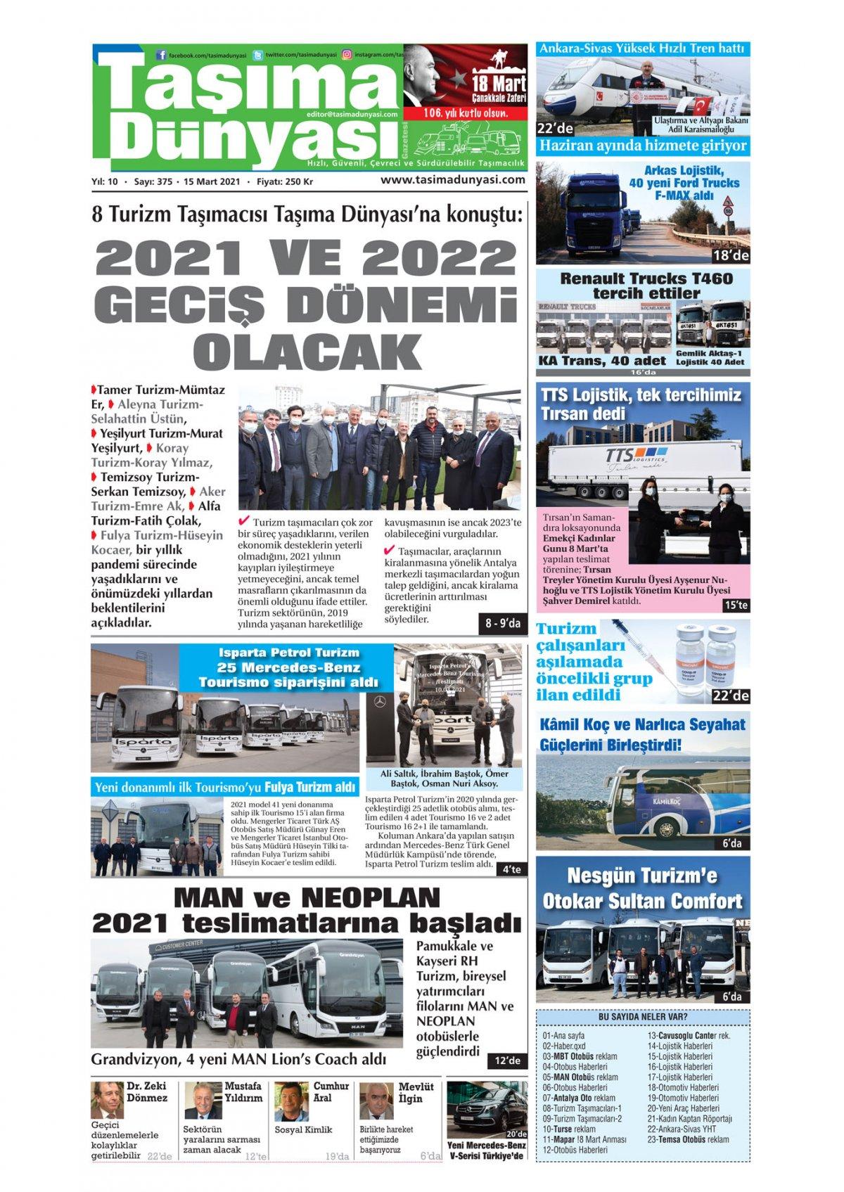 Taşıma Dünyası Gazetesi - 15.03.2021 Manşeti