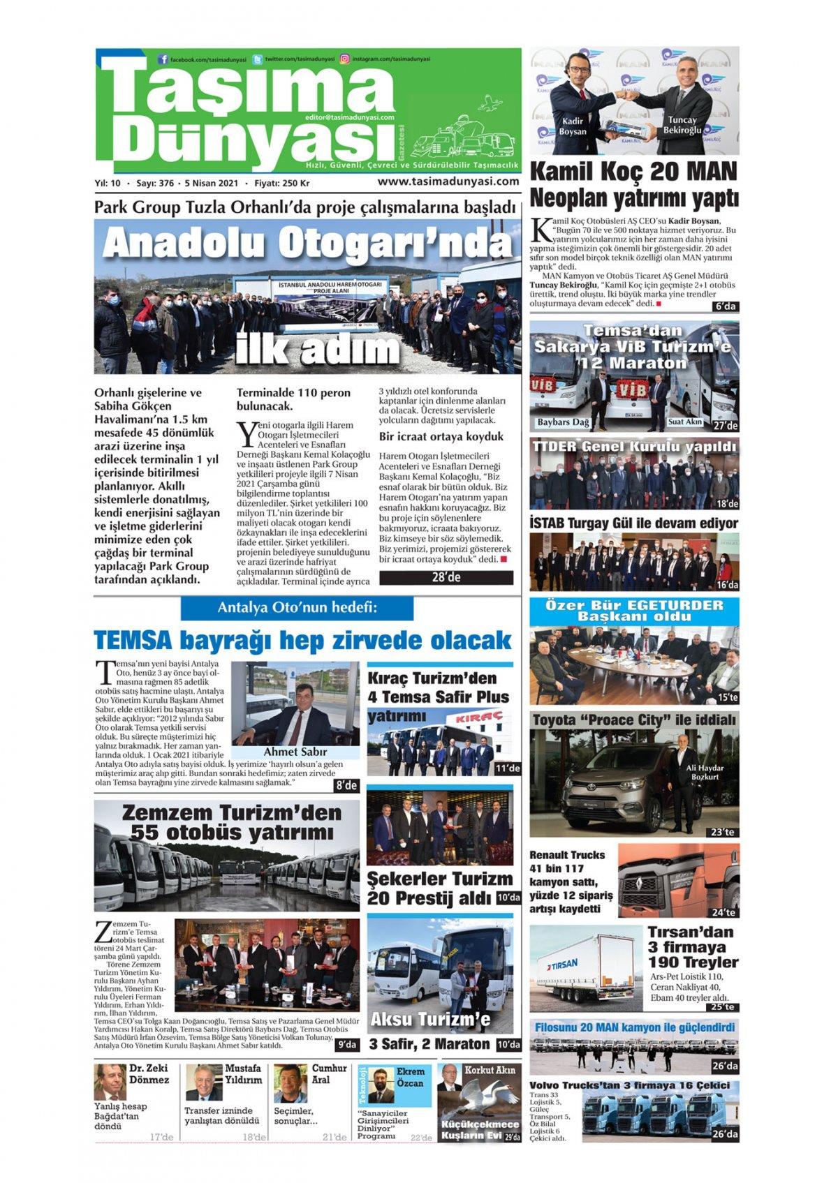 Taşıma Dünyası Gazetesi - 08.04.2021 Manşeti