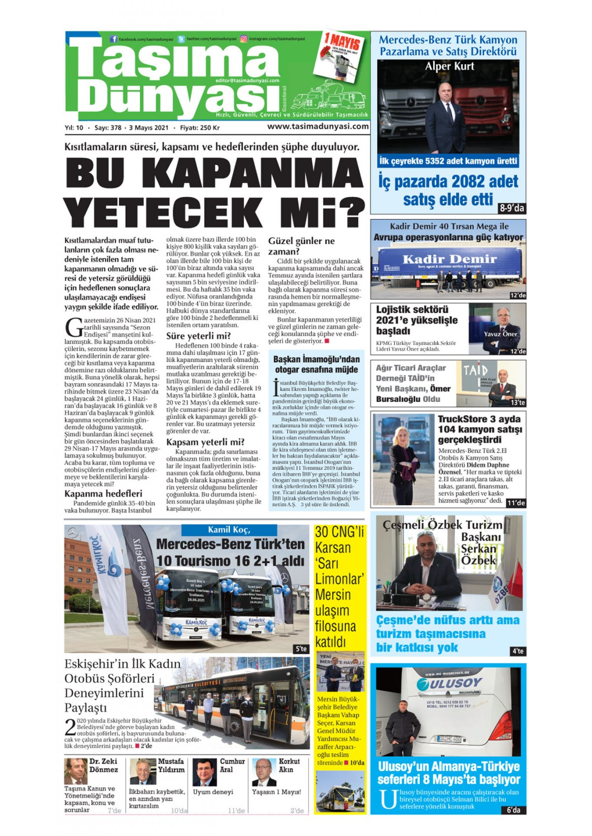 Taşıma Dünyası Gazetesi - 01.05.2021 Manşeti