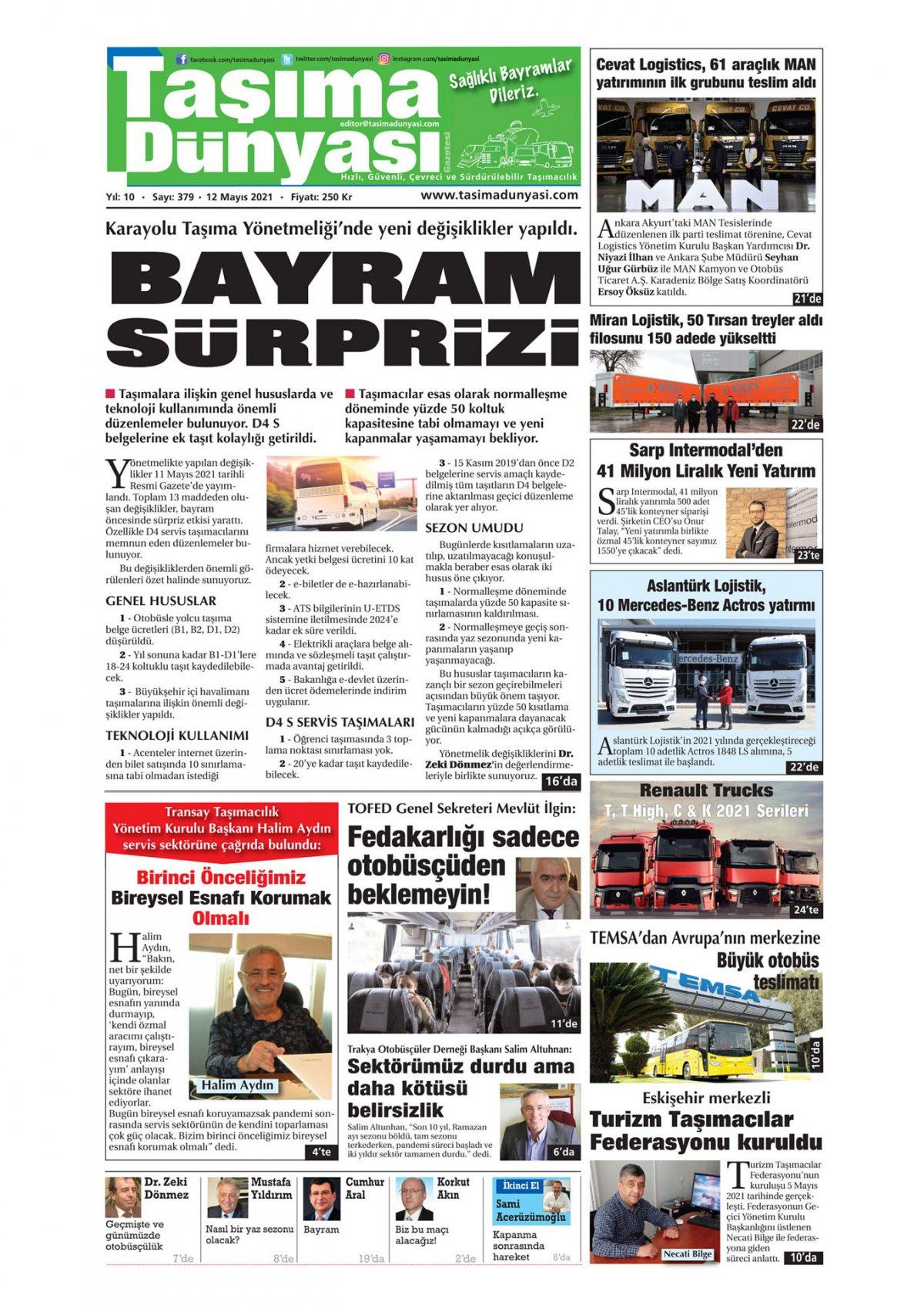 Taşıma Dünyası Gazetesi - 12.05.2021 Manşeti