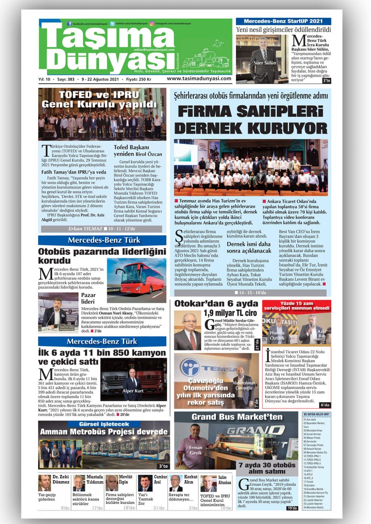 Taşıma Dünyası Gazetesi - 09.08.2021 Manşeti