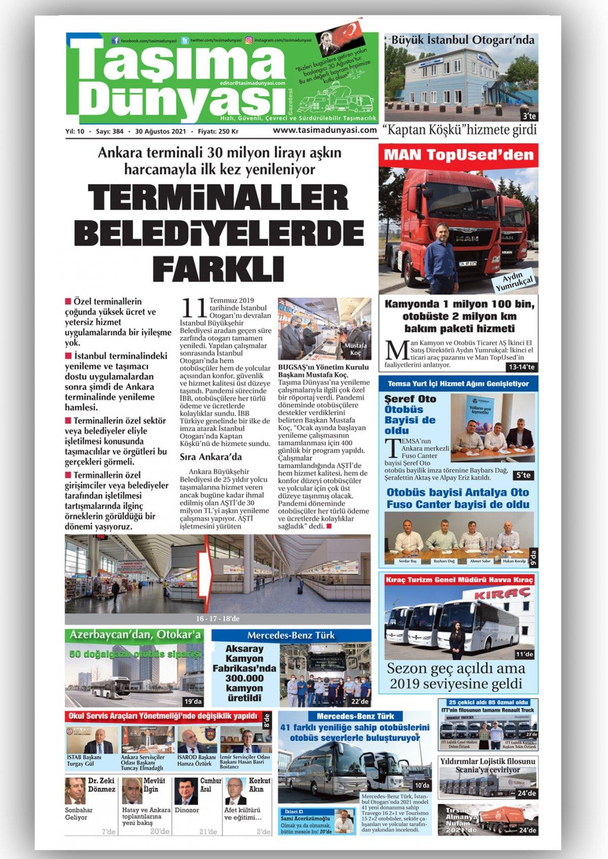 Taşıma Dünyası Gazetesi - 30.08.2021 Manşeti