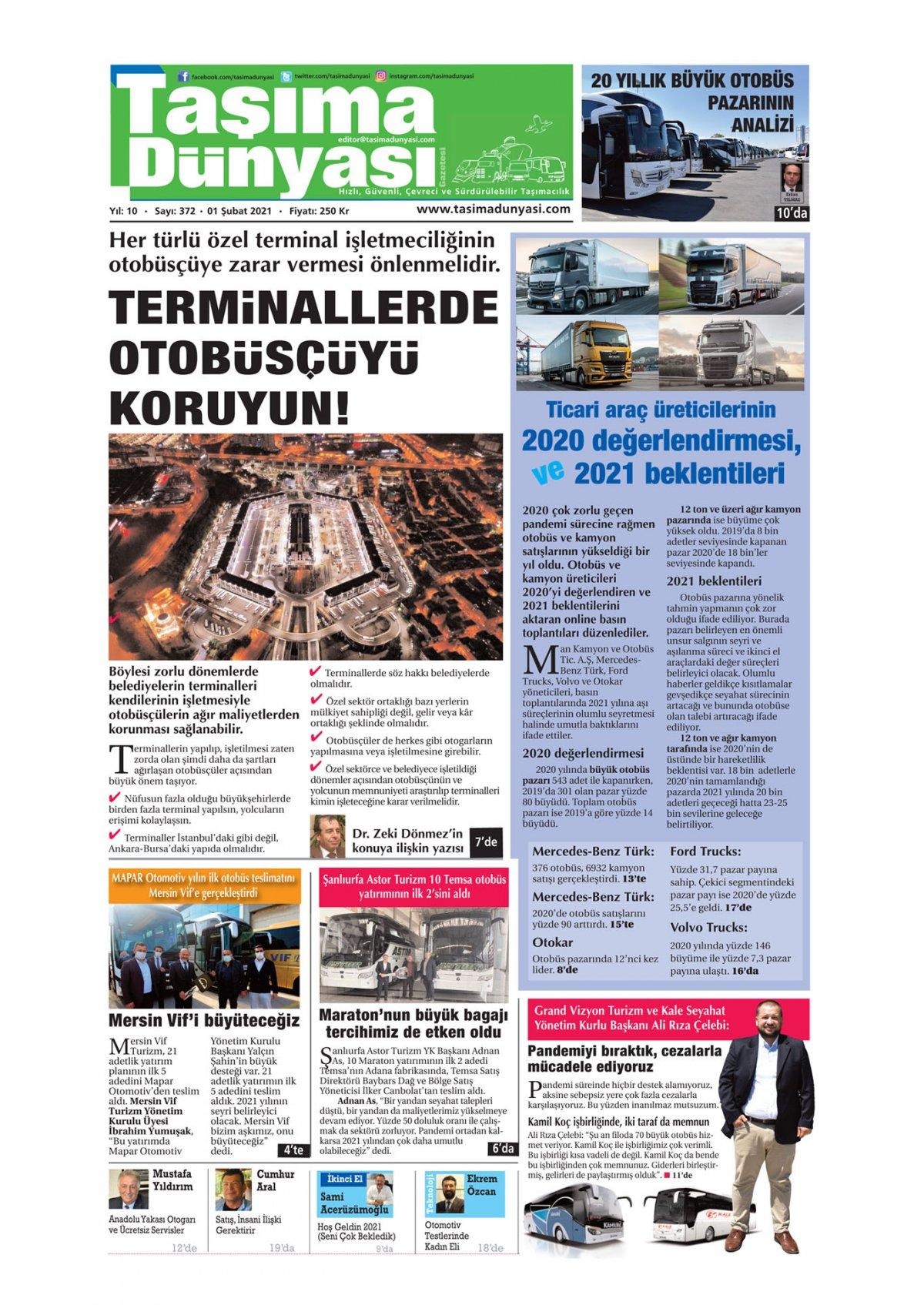 Taşıma Dünyası Gazetesi - 01.02.2021 Manşeti